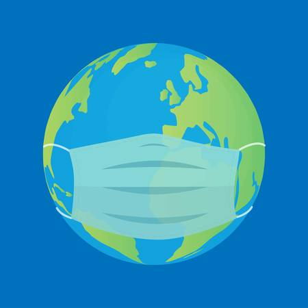 Earth globe with medical mask on blue background