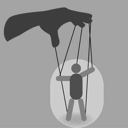 Hand with a puppet on ropes, manipulation concept Illustration