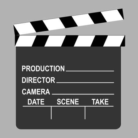 Clapperboard used in filmmaking with text, conceptual vector