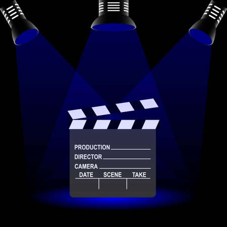 Clapperboard used in filmmaking with text and three spotlights Stock Illustratie