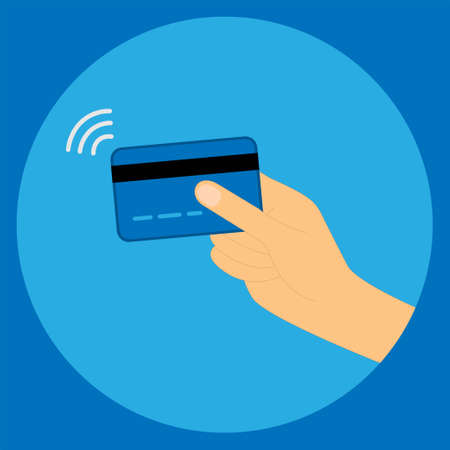 Hand holding a credit card with contactless wireless pay sign