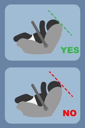 Correct position in infant car seat, conceptual vector