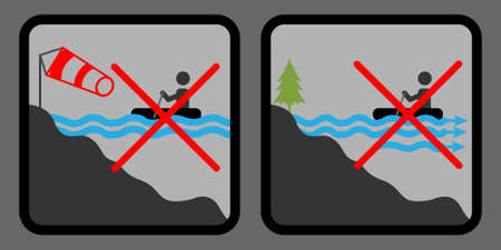 No sailboat icons. Sailing is forbidden. Stock Illustratie