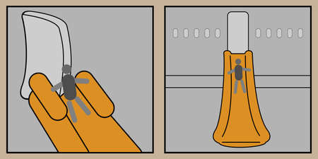 Two icons with an airplane slide for emergency evacuation
