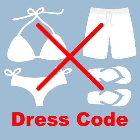 Swimsuit, shorts  and flip flops not allowed, dress code concept Ilustrace