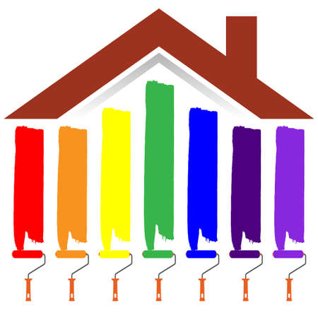 Paint rollers with different colors painting a house