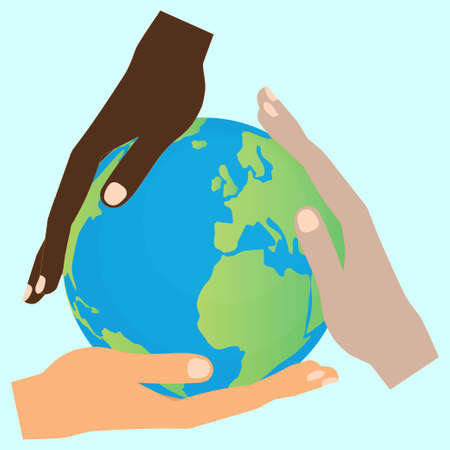 Three hands of different human races holding the globe