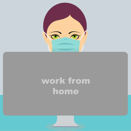"Young woman wearing a mask in front of a computer with the text ""work from home"""