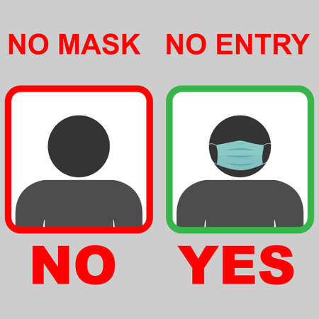 No entry without a face mask concept Stock Illustratie