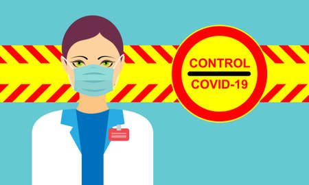 Yellow red barricade tape with the text control covid 19 medical alert with a woman doctor wearing a face mask Stock Illustratie