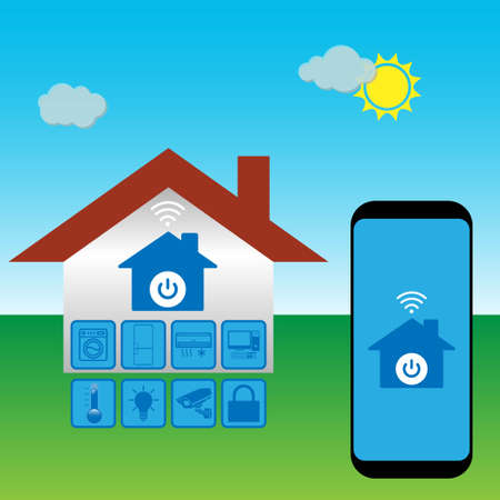 Smart house technology system with centralized control of lighting, heating, ventilation and air conditioning, security and video surveillance Stock Illustratie