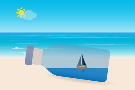 Sailboat in a bottle with seascape, sun and sky Vektoros illusztráció