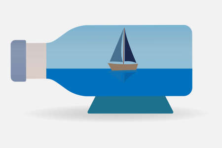 Sailboat inside a bottle in horizontal position
