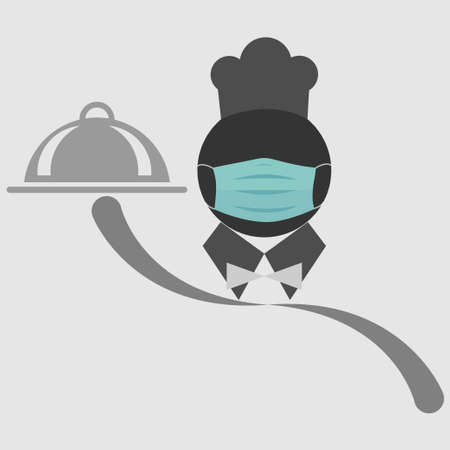 Symbol of a chef wearing a mask and holding a plate