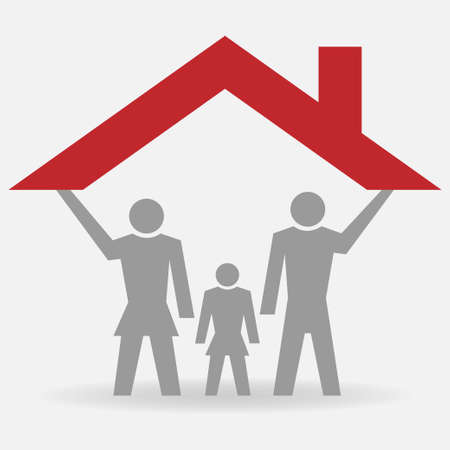 Family under a house roof, conceptual vector