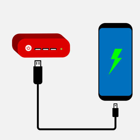 Smartphone charging from an external power bank Illustration