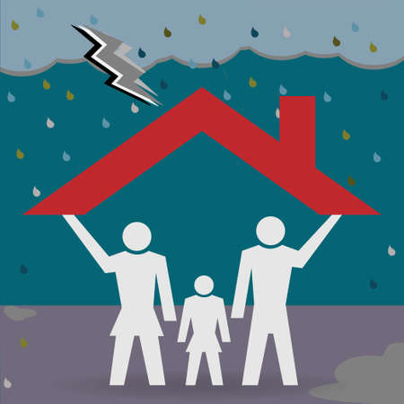 Family under a house roof which protects them from bad weather