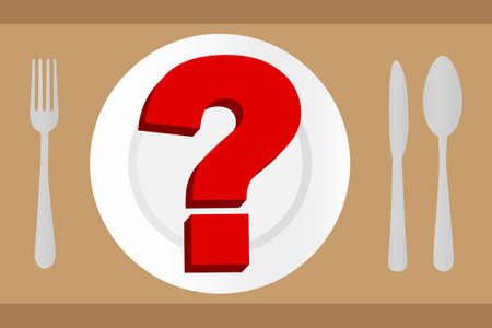 Empty plate with question mark on it and cutlery on the sides Illustration