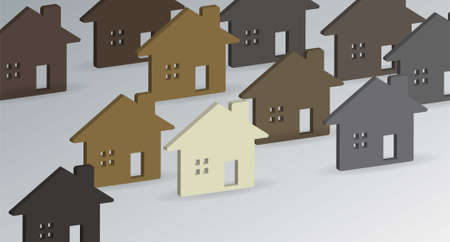 Set of 3d houses in different colors