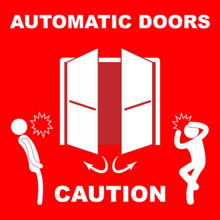 Automatic doors sign with the text caution
