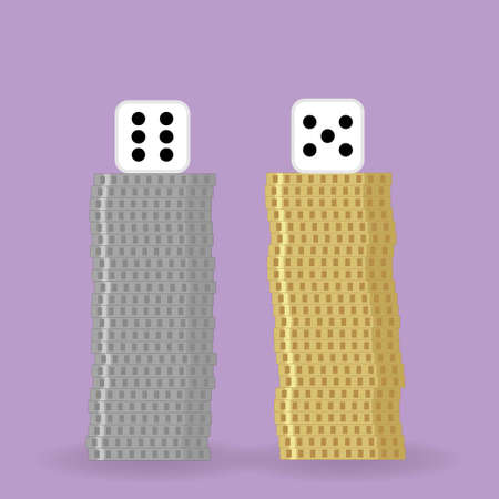 Two dice on two piles of coins a silver and a golden one