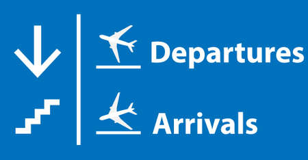 Information panel on the direction of arrivals and departures and stairs at the airport