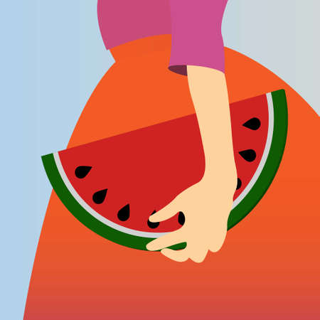 Hand of a woman holding a watermellon shaped bag Illustration