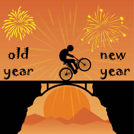 Cyclist changing old year to new year Иллюстрация