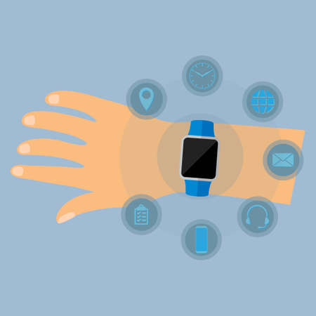 Hand wearing a smartwatch with different applications icons