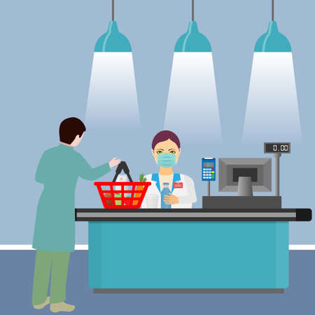Supermarket store counter with cashier wearing medical mask and buyer with a basket of food