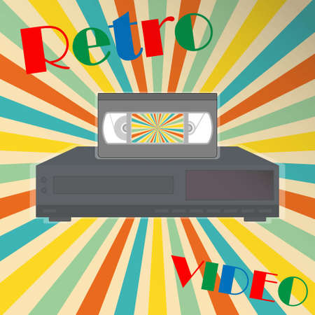 Video tape on a video player with the text retro video