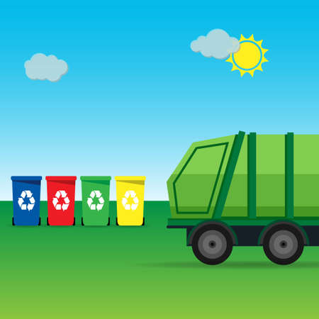 Garbage truck in a rural landscape with garbage containers