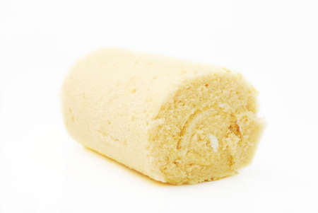 Cream roll on white background photo