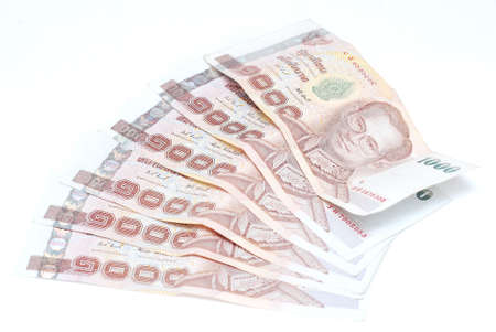 Thailand banknote money on white background Reklamní fotografie