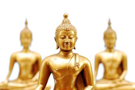 three yellow Buddha image on white background Reklamní fotografie
