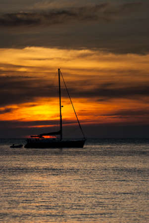 Yacht boats and sunset