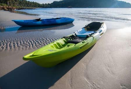 Two kayaks, boats on the beach Reklamní fotografie