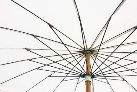 Close up bottom view of a white beach umbrella  Reklamní fotografie