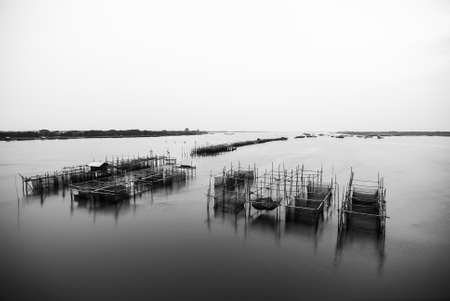 commercial fisheries: Black and White stake trap at the mouth of the river