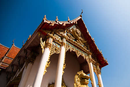 The pediment of the temple, Thailand, This is a Buddhist temple