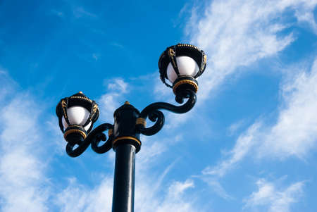 Lamp along the road in Thailand with blue sky background Reklamní fotografie