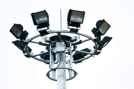 halogen lighting: Stadium light on white background Stock Photo