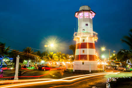 lighthouse with night life