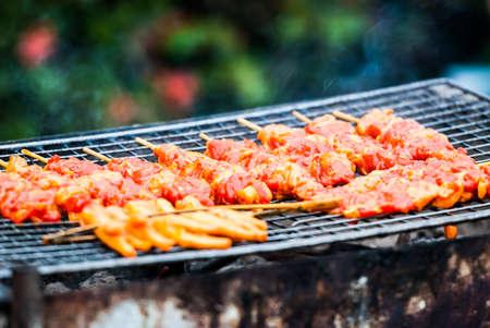 Thai style grilled chicken in market