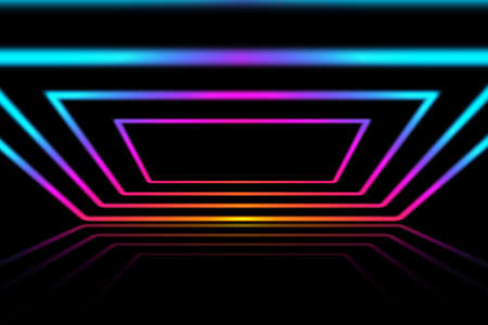Laser neon colorful lights background. Futuristic reflection psycho and techno perspective interior design.