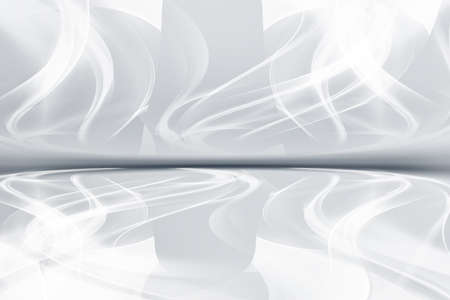 White grey perspective flow waves background. Fantasy futuristic design. Abstract creative graphic for web.