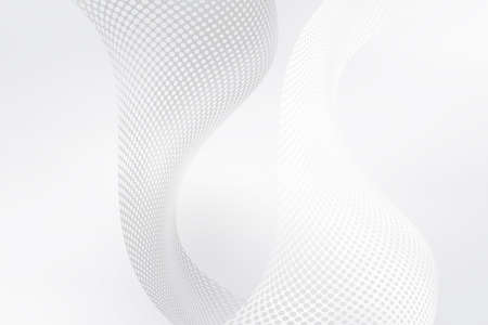 Futuristic white net background. Elegant modern interface design. Grey tone gradient with fluid flow halftone 3d waves.