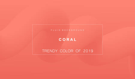 Coral trendy color of 2019. Gradient fluid abstract background. Modern texture for layout, banner, poster, flyer, card, web design. Vector eps10.