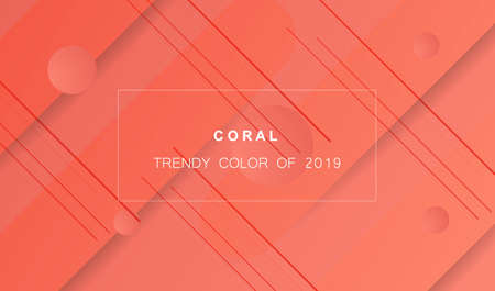 Coral trendy color of 2019. Gradient geometric dynamic abstract background. Modern texture for layout, banner, poster, flyer, card, web design. Vector eps10. Çizim