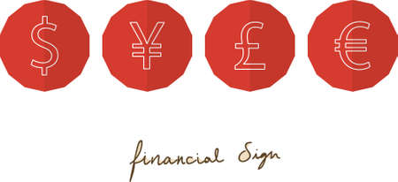 red 4 financial sign in flat style 向量圖像